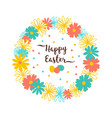 easter wreath of flowers happy card vector image