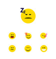 Flat icon face set of wonder displeased have an