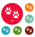 fox step icons circle set vector image