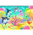 Funny marine animals under the sea vector image