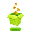Green donation box with golden fallen coins vector image