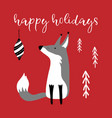 greeting card with hand drawn cute fox and vector image vector image