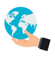 hand holding world map vector image vector image