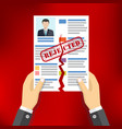 hands holding ripped cv profile vector image vector image