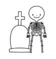 happy halloween celebration skeleton and tombstone vector image vector image