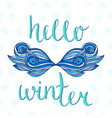 hello winter card with creative ice mustache vector image vector image
