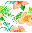 Hibiscus Tropical plants seamless pattern and vector image vector image