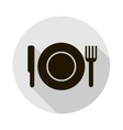 icon with a silhouette of a plate knife vector image vector image