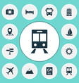 journey icons set collection of direction sunny vector image vector image