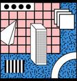 memphis style geometric blue background vector image