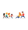 mom dad and children pulling opposite ends of vector image vector image