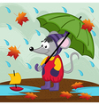 mouse in rain autumn vector image