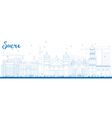 Outline Sucre Skyline with Blue Buildings vector image vector image