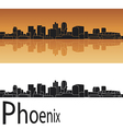 Phoenix skyline in orange background vector image vector image