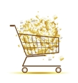 Pile of euro coins in shopping cart for your vector image vector image