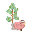 pink sheep farm with tree and fence vector image