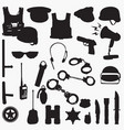 police equipment silhouettes vector image