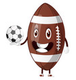 rugball is holding soccer ball on white vector image
