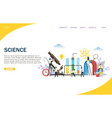 science website landing page design vector image vector image