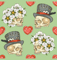 seamless pattern with skulsl and hearts vector image