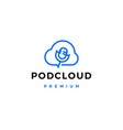server cloud podcast logo icon vector image