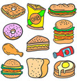 set of food style design doodles vector image vector image