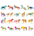 set of mosaic colorful horses-3 vector image vector image