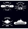 set ski club vintage mountain winter badges vector image vector image