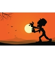 Silhouette of zombie and bat halloween backgrounds vector image vector image