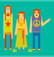 small company of funny cartoon hippie characters vector image