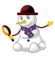 snowman with magnifying glass on white background vector image