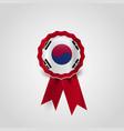 south korea flag ribbon banner badge vector image