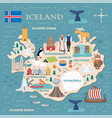 stylized map iceland vector image vector image