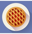 Sweet apple pie icon Flat designed style vector image vector image