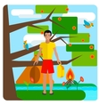 Tourist guy resting on nature Tent background vector image vector image