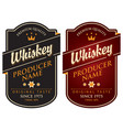 two retro labels for whiskey in the curly frame vector image vector image
