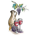 watercolor jug and glasses of wine grapes isolate vector image