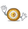 waving komodo coin character cartoon vector image vector image