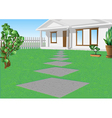 white house on a green lawn vector image