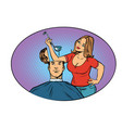 wife husband prepares soup in his head vector image vector image