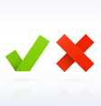 Yes or No paper check marks vector image vector image