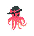 pink octopus with plump lips and big shiny eyes vector image