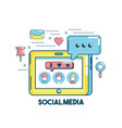 social media connection in the digital network vector image