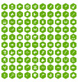 100 animals icons hexagon green vector image vector image