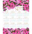 2019 calendar of spring pink flowers vector image