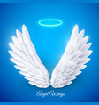 3d white realistic layered paper cut angel vector image vector image