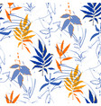 abstract seamless pattern exotic leaves in vector image