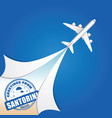 airplane with santorini grunge rubber vector image vector image