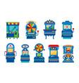 arcade game machines set retro casino slot gaming vector image vector image