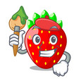 artist character strawberry sweet in store fruit vector image